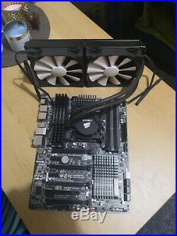 4930k + 32GB Corsair RAM + Gigabyte LGA2011 motherboard + Corsair h100 cooler