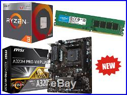 AMD Ryzen 4 Core 3.7GHz MSI A320M PRO Gaming Motherboard Bundle 8GB RAM
