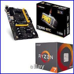 AMD Ryzen 7 1700 Processor + Biostar Motherboard Ryzen AMD B350 DDR4 TB350-BTC