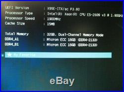 ASRock X99E-ITX/ac Xeon E5-2609v3 1.9GHz 32GB DDR4 ECC Mini ITX Motherboard
