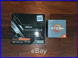 BRAND NEW COMBO AMD Ryzen 5 1600 w\ ASROCK B450-PRO Socket AM4/ mATX MOBO