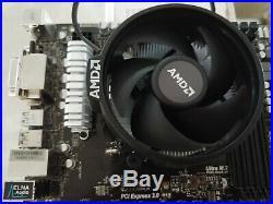 COMBO AMD Ryzen 5 1600 Asrock AB350 Pro4 ATX motherboard heatsink fan