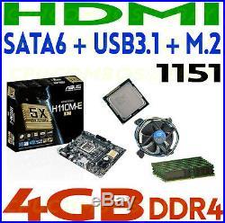 COMBO Intel i7-7700 CPU+4GB DDR4 RAM+ASUS HDMI SATA6 USB 3.1 M. 2 Motherboard