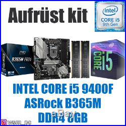 Core i5 9400F ASRock B365 Mainboard 8GB RAM Intel PC Bundle Kit