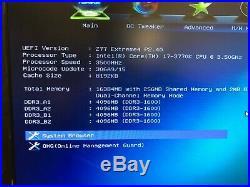 Intel Core i7-3770K 3.5Ghz, ASUS ASRock Z77 Extreme4, 16GB RAM G. SKILL Sniper