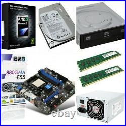 MSi 880GMA-E55 Motherboard Phenom II x4 955 3.2Ghz RAM HDD DVD PSU Upgrade Combo