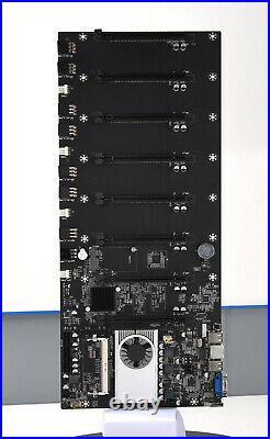 Mining Motherboard with CPU & Fan Set 8 GPU Slots PCIE 16X DDR3 Memory ATX 24PIN