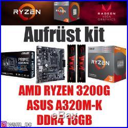 PC Bundle Kit Set AMD Ryzen 3200G + Grafik ASUS A320 Mainboard DDR4 16GB