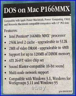 Pentium 166MMX DOS Compatibility Card Power Macintosh Windows Apple Mac CIB NOS